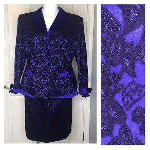 Escada Couture Purple & Black Skirt Suit Euro 44
